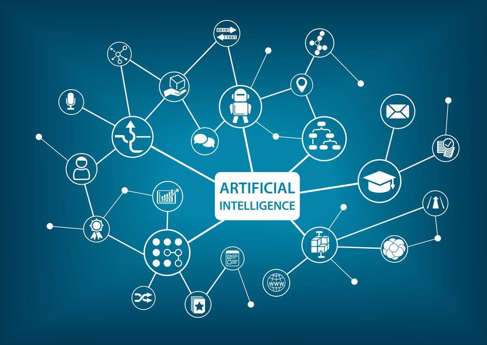 """Schema a blocchi con, al cento, la scritta """"artificial intelligence"""", composto da tanti cerchi collegati da linee e contenenti icone dell'intelligenza artificiale"""