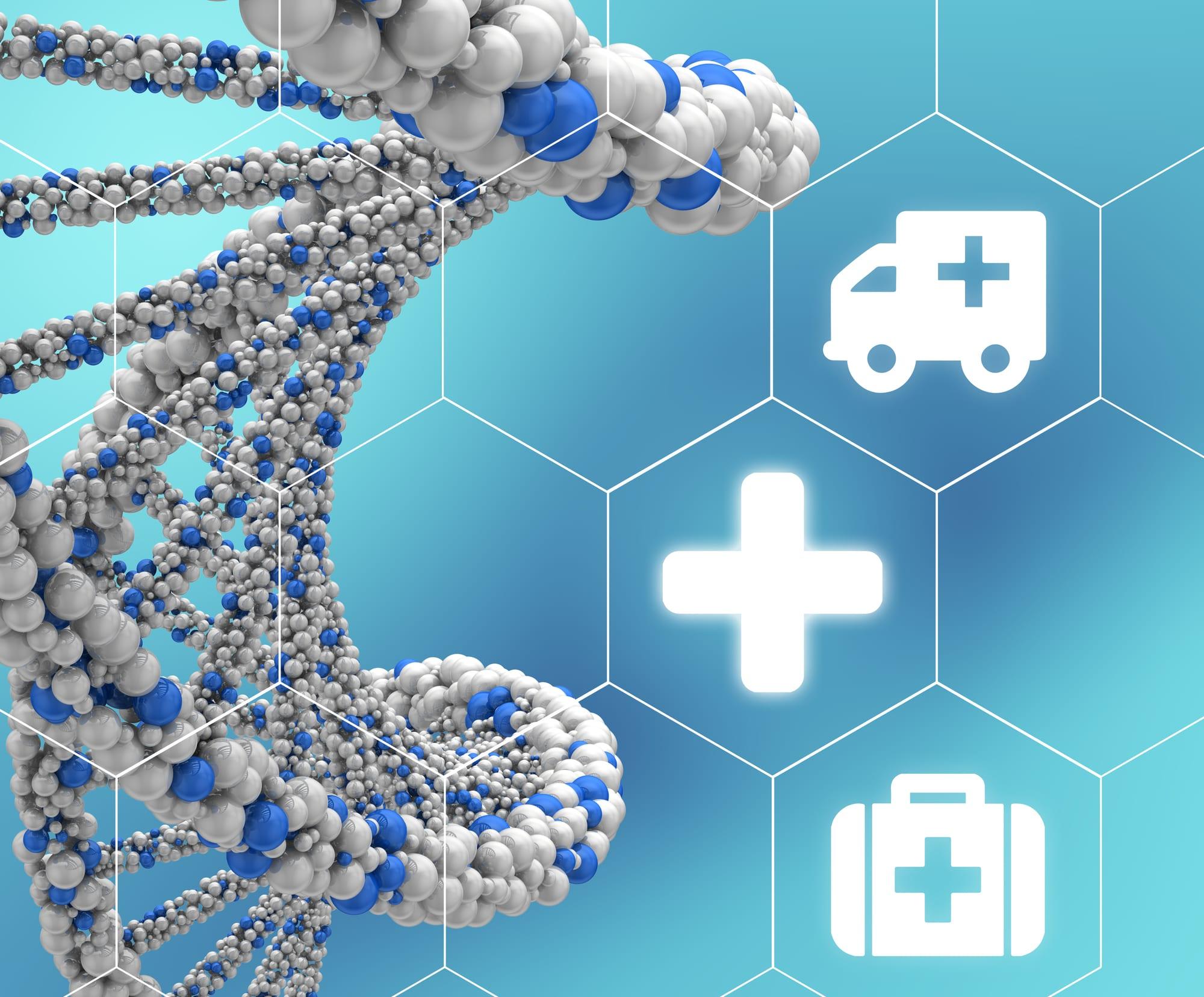 Catena di DNA in primo piano, oggetto di modifiche genetiche nella produzione di alcune sostanze naturali.