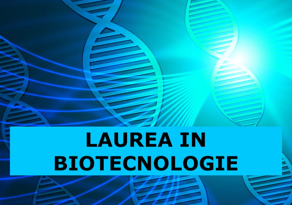 filamenti di DNA colorati e, in primo piano, la scritta laurea in biotecnologie