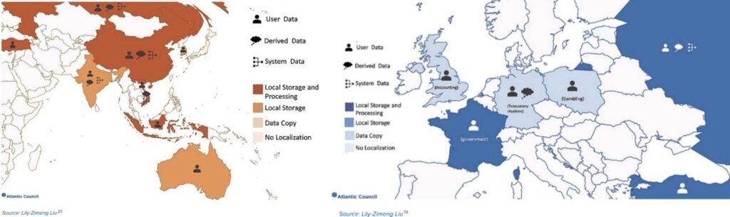 Confronto utilizzo dei dati in Cina e Asia con il trattamento dei dati in Europa