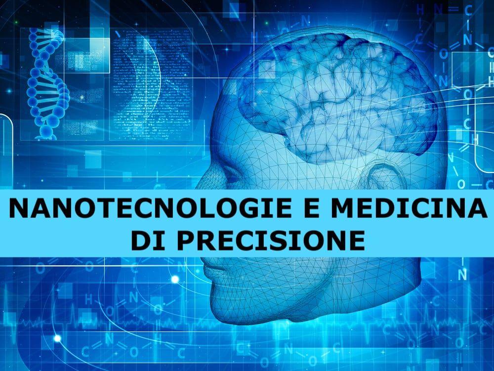 profilo di volto umanoide tra icone di organi umani, codici e filamenti di DNA e scritta Nanotecnologie e medicina di precisione