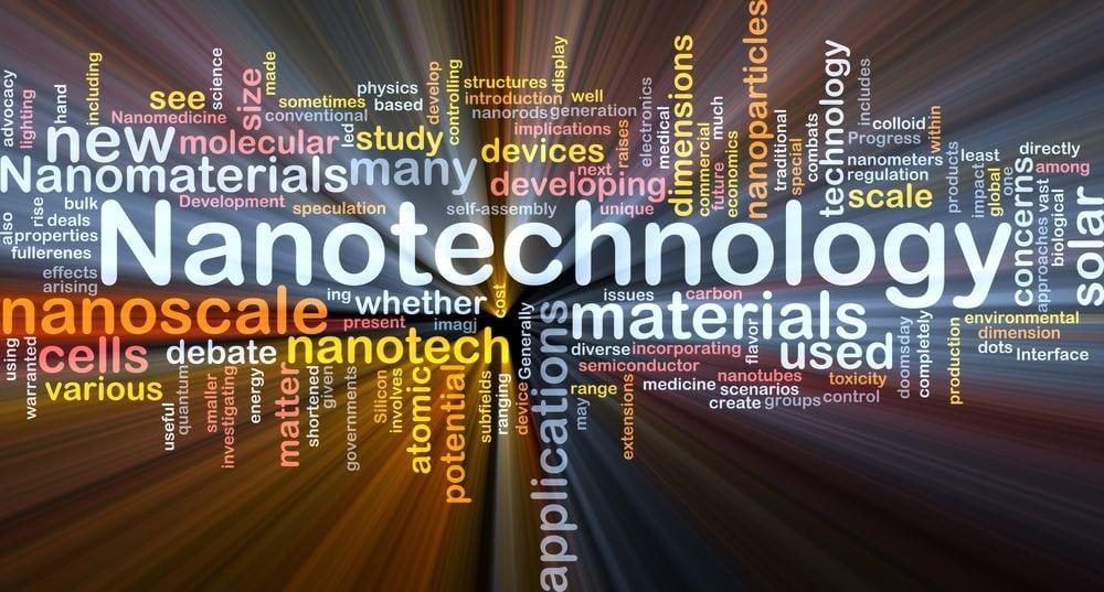 illustrazione con scritte nanotecnologie e nanomateriali