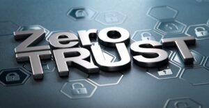 Scritta Zero Trust su sfondo nero, con icone di lucchetti in rilievo, che esprime il concetto di cyber security.