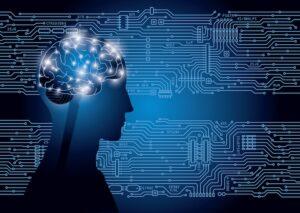 intelligenza artificiale per disturbi psicotici - volto umano stilizzato di profilo con cervello in evidenza, su sfondo blu caratterizzato da circuiti e nodi -