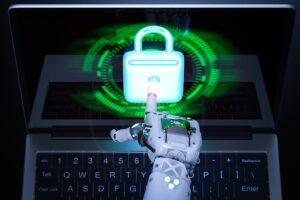 Rendering 3D della mano di un robot che indica un lucchetto posto su un PC, a esprimere concetto di cyber-security