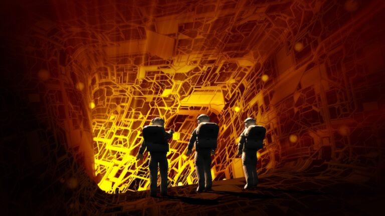 Immagine con rendering 3D di astronauti che esplorano l'interno di un'astronave grazie alle tecnologie immersive per le missioni spaziali.